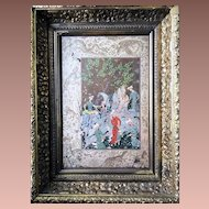 Miniature by Mirza Ali Framed Cover of Antique Persian Epic Poetry Book