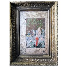 Miniature by Mirza Ali Framed Cover of Antique Persian Epic Poetry Book - Red Tag Sale Item