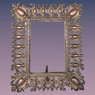 Antique Gilded Cast Iron Table Top Photograph-Mirror Frame, 1806