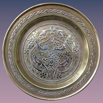 Silver Copper Inlaid Brass Mamluk Revival Decorative Plate
