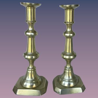 Pair of Vintage English Brazen Candlesticks Holders, Circa 1930-1940
