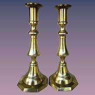 Pair of Antique Brass Candlesticks Holders Circa 1850 England