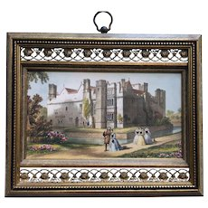 Antique Hand Colored Engraving in Filigree Frame
