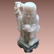 Old Carrera Marble Shou Xin Gong SHOU-HSING, SHOU-LAO, NAN-JI-XIAN-WENG Chinese God of Longevity Statue