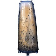 Fine Art Glazed Clay Vase with Dragonflies from Italy