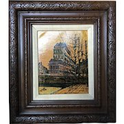 Lentini Oil on Canvas Painting River & Bridge in the City