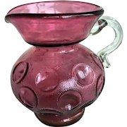 Vintage Fenton Plum Purple Art Glass Glass Thumbprint Pitcher