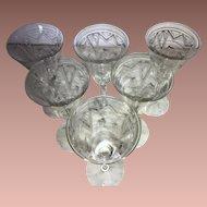 Art Deco Needle Etched Optic Crystal Wine Glasses (6)