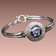 Dilmener 585 Gold Bracelet Versace Medusa Style Face Greek Key Pattern