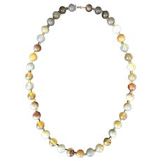 Blue and Brown Chunky Agate Beaded Necklace from Tajikistan