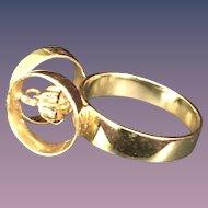 Designer's Unique 14 K Gold Ring (Size 5)
