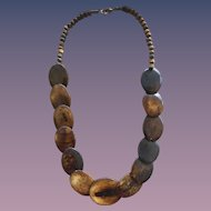 Carved & Polished Ox Horn Plates-Beaded Necklace