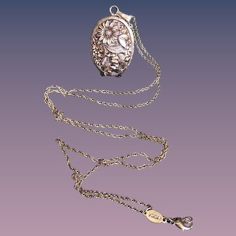 Floral Locket-Swiss 17 Jewels Watch Dumont on a Long Gold Color Chain