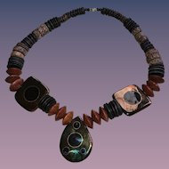 African Art Jewelry-Unique Exotic Wood and Art Ceramics Necklace