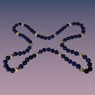 Luxurious Royal & Navy Blue AAA Grade Lapis Lazuli Necklace c. 1980