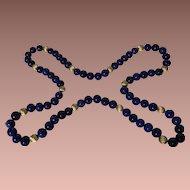 Luxurious Royal & Navy Blue AAA Grade Lapis Lazuli Necklace c. 1980