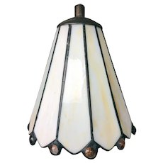 Leaded Slag Glass Mount on Table Lamp Shade