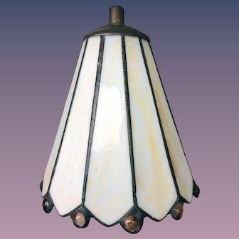 Leaded Slag Glass Mount on Table Lamp Shade