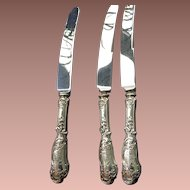 Sheffield England Stainless Steel Blade Silver Handle Knives 19c.