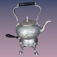 Silver Plate Repousse Tea Kettle & Portable Stand
