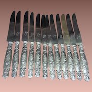 Set of 12 Puiforcat Large Silver Knives France 19 c.