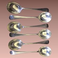 John Morton & Co Sheffield 6 Round Bowl Gumbo Soup Spoons Silver plate Flatware