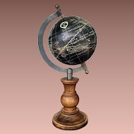 Astrological Nautical Hallmarked Black Globe on Wooden Base
