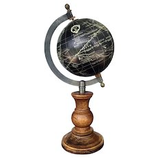 Astrological Nautical Hallmarked Black Globe on Wooden Base
