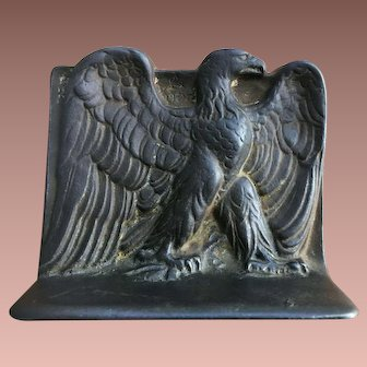 Antique Cast Iron Bookend Standing American Eagle