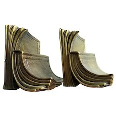 Brass Covered Cast Metal Vintage Bookends-Shape of Two Stacked Books 1950's