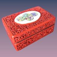 Cinnabar Trinket Encrusted with Porcelain Chip