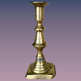 "Single English C. 19 c. Brass Push-up Candlestick Holder-7"""