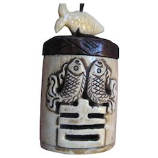 Lacquered Japanese Horn Inro with Carved Fish and Fish Netsuke