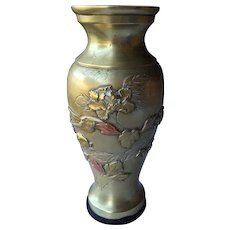 Meiji Period Bronze-Copper Vase Decorated with Duck and Chrysanthemums