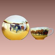 Royal Doulton Bone China Coaching Days Cup and Saucer Paired Coach Scenes