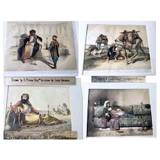 Lot of Four Old Lithographs on Arabic Theme Drawn on Stone