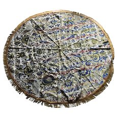 Vintage Tapestry Silk Woven Round Tablecloth with Silk Fringes