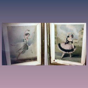 Set of 2 Vintage Ballet Dancers Prints of Lucile Grahn in Eoline Ou La Dryade & Marie Guy Stephan in Las Boleras De Cadiz