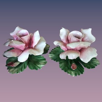 Pair CAPOD'MONTE Italy Vintage Floral Candle Holders Crown Logo N