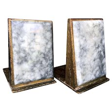 Florentine Bookends Vintage, Gilded with Carrara Marble