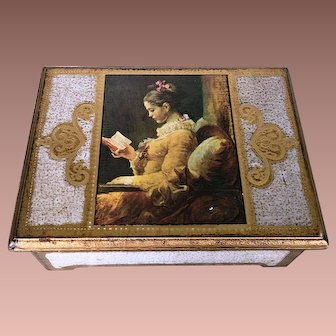 "Gilded Florentine Musical Jewelry Box- Fragonard's ""Young Girl Reading"""