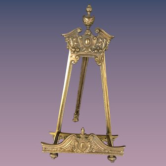 Large Ornate Old Brass Table Easel for Books, Paintings, Plates