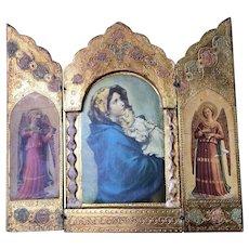 Italian Florentine Triptych Icon Virgin Mary Infant Jesus