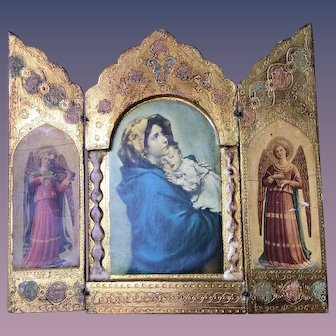 Italian Florentine Triptych Icon Virgin Mary Infant Jesus