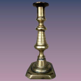 Single Antique Push-up  Brass Candlestick C. 19 ct. England (#7)