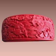 Cinnabar Lacquer Bangle Bracelet Wide Dragon Design