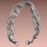 Vintage Italian Sterling Silver 10-chain Bracelet