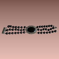 Vintage Black Onyx Cabochon and Onyx Beads bracelet in Sterling