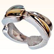 Designer Sterling Silver/18 KT Vermeil Artform Bangle Bracelet Signed Yaacov Heller