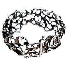 Vintage Brutalist Art Bracelet Sculptured  Sterling Silver Designer Handcrafted Maskit